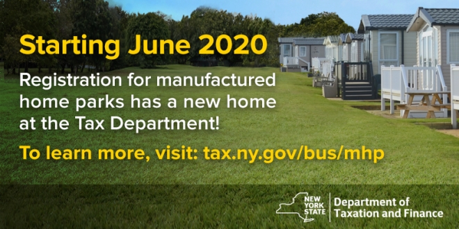 Image of manufactured home park with text saying NY State Tax department now handles registration
